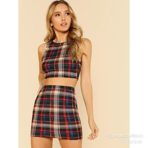 2pc. Plaid Crop Top and Skirt Set